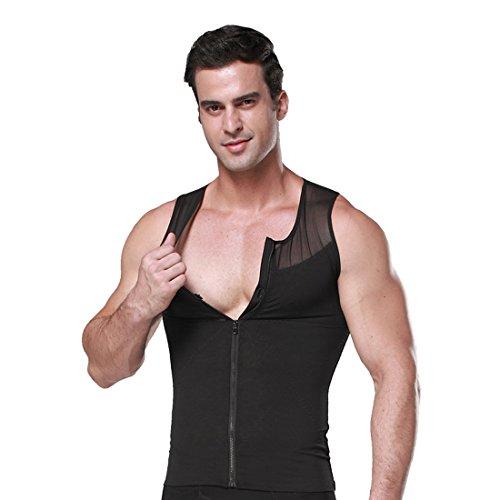 ZEROBODYS Shirt netto Zipper Addome Body Shaper dimagrante uomo elastico Sculpting carro armato della maglia che modella la maglia SS-M09 (Nero, M)