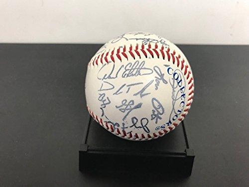 2001 Anaheim Angels FACSIMILE Team Signed Baseball Salmon Eckstein Molina SGA