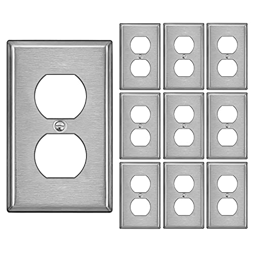 [10 Pack] BESTTEN Duplex Receptcle Metal Wall Plate, 304SS Material, 1 Gang Standard Industrial Stainless Steel Outlet Cover, Durable Corrosion Resistant, Silver