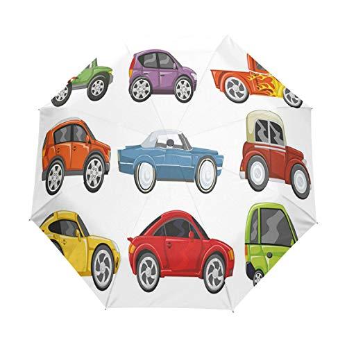SUHETI Regenschirm Taschenschirm,Rennwagen Monster Truck Klassiker Urban Jeep Artistic Speed Automobile,Auf Zu Automatik,windsicher,stabil