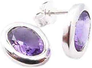 Boucles d/'oreilles Améthyste en Argent Sterling 925 Boucles Bijoux Rond Violet or véritable