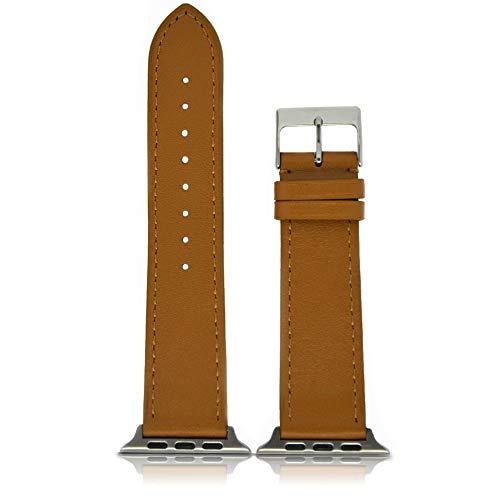 motoscale Armband - für Apple Watch 42mm Series 1, 2, 3 Leder Braun iWatch Uhrenarmband Ersatzarmband Strap mit Connector für Herren Frauen