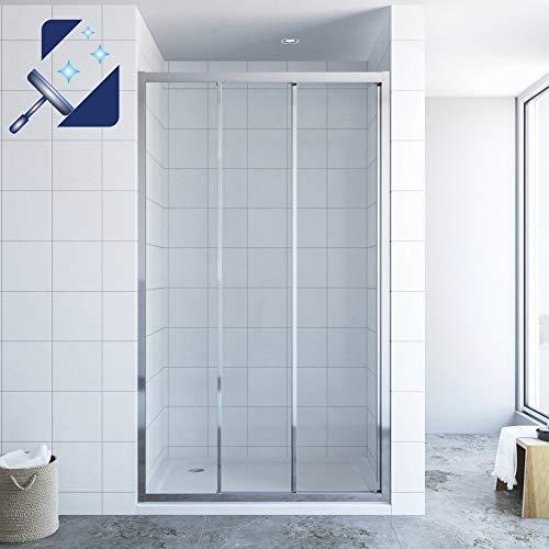 AQUABATOS® 120 x 195 cm Schiebetür Dusche 3 teilig Duschtür Dreiteilige Gleittür in Nische Nischenschiebetür Duschwand Glas Nischentür 6 mm Sicherheitsglas Klarglas mit Nano Beschichtung