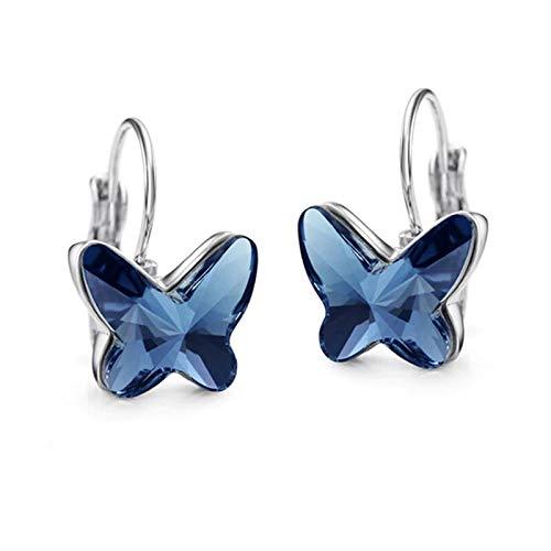 Pendientes de Mariposas Azules con Cristal Austriaco para mujer regalo creativo, divertivo, original...