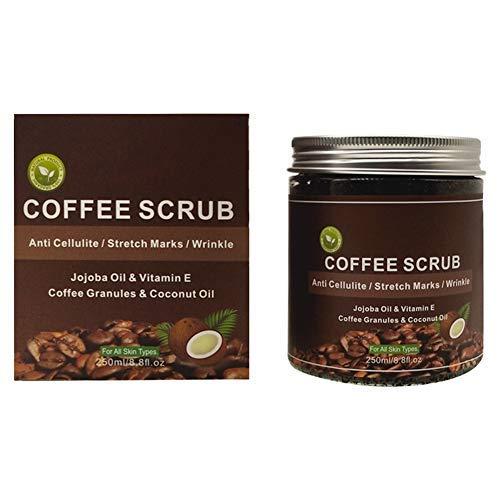 250 ml de crema exfoliante corporal de café, eliminación de la piel muerta y polvo de limpieza profunda para la cara, las manos y el cuerpo, humectación intensiva y para la piel, seguro y no irritante