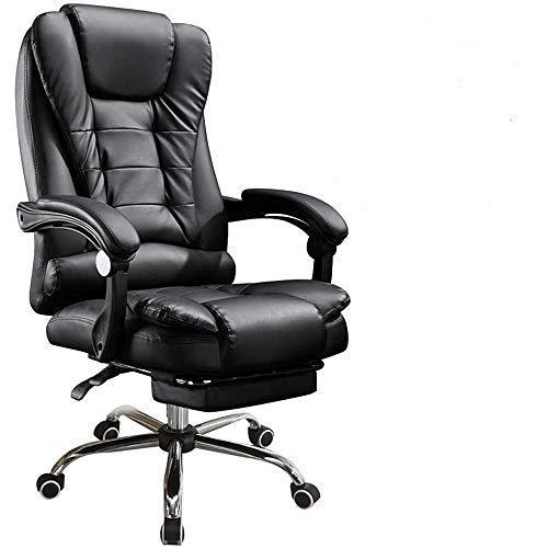 panthem Executive Stuhl mit hoher Rückenlehne, Computertischstuhl mit PU Leder und großem Sitz, Fußschemel, extra gepolsterter ergonomischer Bürostuhl, 360-Grad-Dreh, 150 kg Kapazität
