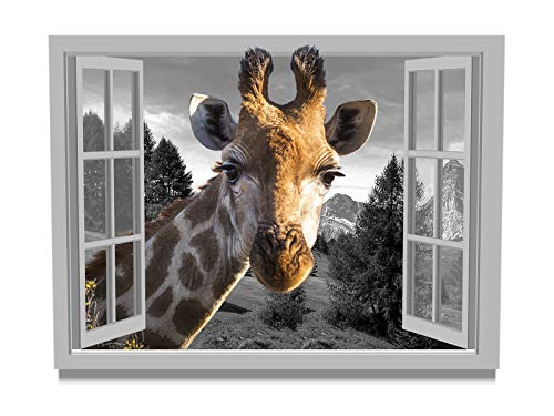 Giraffe Canvas Wall Art for Office Guest Room Wall Decor 12x16Inch Framed Animal Head from Open Window Bathroom Wall Decoration Prints Painting Black White Window View Landscape Wall Picture