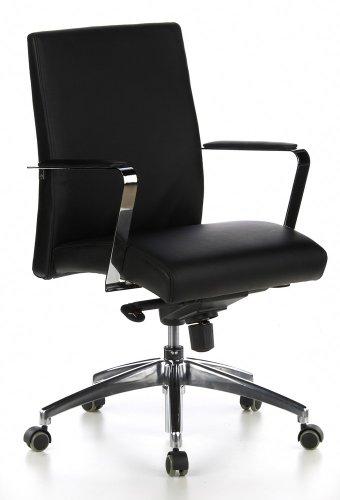 HJH Office, Barolo, bureaustoel, leer, luxe uitvoering, vele instellingen, middelhoge rugleuning, ergonomische bureaustoel, draaistoel niedrig zwart