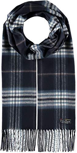 FRAAS Herren-Schal kariert aus reinem Cashmink® - 30 x 180 cm - Perfekt für Herbst & Winter - Feiner als Cashmere - Plaid Fransenschal - Made in Germany Blau