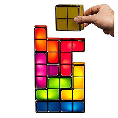YYOMXXOM Dropship-Upgrade DIY Tetris Luz nocturna multicolor apilable Tangram-Puzzles 7 piezas LED inducción luz de bloqueo lámpara 3D juguete regalo (emisión de color: changeable, Plug Type: UE)