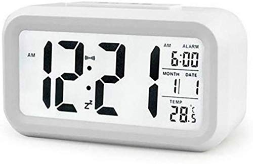 Kaever Sveglia Digitale LED Retroilluminazione Orologio da Comodino Snooze Luminosità Dimmerabile Regolabile Mese Giorno Temperatura, Nero