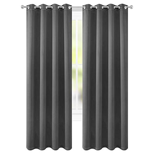 FLOWEROOM Room Darkening Blackout Curtains Thermal Insulated Draperies with Grommet for Living Room, Grey, 52 x 54 inch, 2 Panels