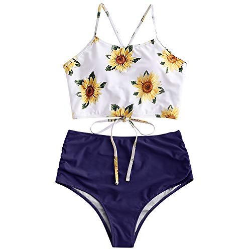 ZAFUL Damen Zweiteiliger Bikinis, gepolsterter Badeanzug mit Blattdruck Schnür-Tankini Oberteil hochtaillierte Shorts gemischter Badeanzug (Dunkelblau, M-EU 38)