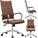 2xhome Contemporary Mid Century Modern High Back Tall Ribbed PU Leather Swivel Tilt Adjustable Chair with Back Swivel Wheels Designer Boss Executive Office Conference Room Task Desk Chrome (Brown)