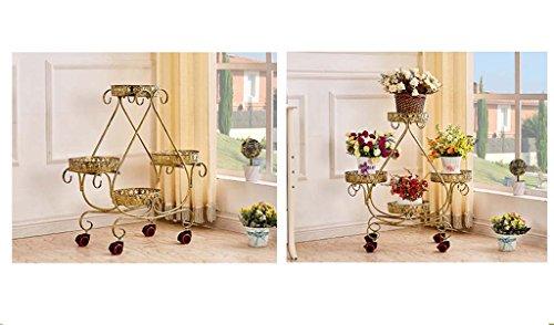 Continental Fer à crémaillère pot de fleurs multi-couche en bois de poulie mobile coulissant salon sol balcon voyantes ( Couleur : Marron )