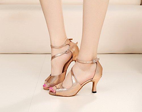 MINITOO , Damen Tanzschuhe, Gold – Rose/Gold-7.5cm Heel – Größe: 39 - 5