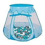 Selonis Tente 105X90cm/200 Balles Château avec Les Balles Plastiques Piscine À Balles pour Enfants, Bleu: Blanc-Gris-Turquoise