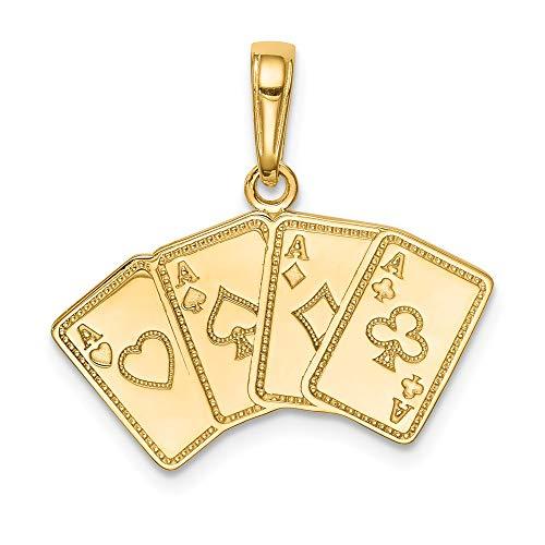 Fiocco Nero Jewellery Company: un tipo di quattro assi carte da gioco ciondolo in oro giallo 14kt