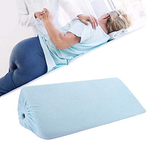 Positioning Wedge Pillow for Side Sleepers, Triangular Pad Turn Over Pad Bedsore Care Pillow Side Cushion for Elder Bedridden Patients (Drawstring Type)(Blue)