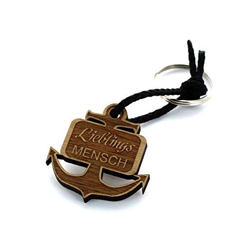 Lieblingsmensch Schlüsselanhänger aus Holz mit Gravur - Modell: Anker