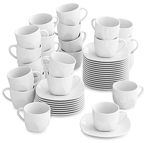 MALACASA, Serie Elisa, 48-teilig Set Porzellan Tassen mit Untertassen, CremeWeiß Kaffeeservice Teeservice, je 24x Kaffeetassen mit 24x Untertassen für 24 Personen