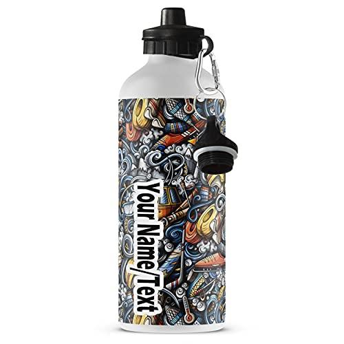 Botella de Agua Personalizada de Aluminio Printtoo Niño Guepardo Bebé Imprimir Botella Deportiva Personalizada Niños con Mosquetón con Nombre Sport [110]