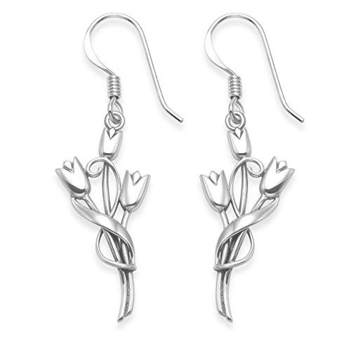 Orecchini in argento Sterling Rennie Mackintosh–tre tulipani Drop orecchini–Dimensioni: 13mm x 25mm (40mm tra cui orecchini filo). Confezione regalo. 6107/B54HN.