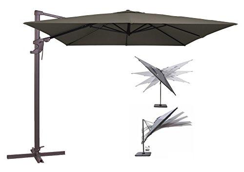 Madison Ampelschirm Monaco Flex 300x300 cm in anthrazit inklusive Ständer, sowohl axial als auch am Mast verstellbar, UV-Schutz 50 Plus