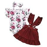 Bonfor 3 Piezas Conjunto Ropa Bebe Niña 0-3 Meses Verano Vestidos Algodon Mono de Floral + Falda de Tirantes + Banda de Pelo para 0-18 Meses Recien Nacido Niño (Rojo, 6-12 Meses)
