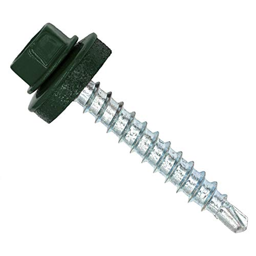 Twistec 292PVZ48x356005 Trapezblechschrauben 4,8 x 35 mm, RAL6005, 100 stück, Moosgrün RAL 6005