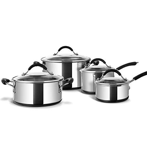 Coolinato Batería de cocina de inducción, 8 piezas, acero inoxidable, apta para inducción, gas, vitrocerámica y horno