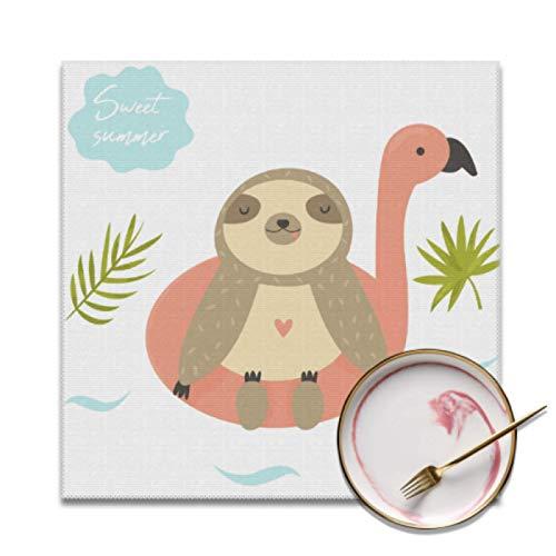 Juego de 4 tapetes de Mesa Juego de 4 Happy Sloth Play con Lindos manteles Individuales Cuadrados en Llamas, Resistentes a Las Manchas, Lavables, para Mesa de Cocina, para Interiores o