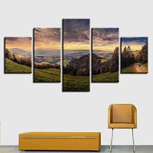 GHYTR 5 Piezas Cuadro sobre Lienzo De Fotos Montaña Bosque Pastoral Lienzo Impresión Cuadros Decoracion Salon Grandes Cuadros para Dormitorios Modernos Mural Pared 5 Partes Carteles Regalo