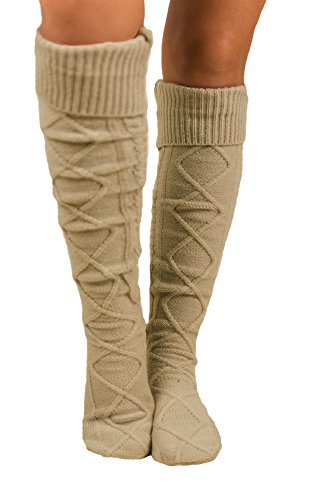 Womens Cable Knit Knee-High Winter Boot Socks Extra Long Over Knee Stockings Thigh-High Leg Warmers