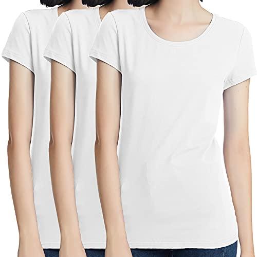KELOYI Camiseta Blanca Mujer Verano Manga Corta de Algodón Cuello Redondo, Pack de 3 - L