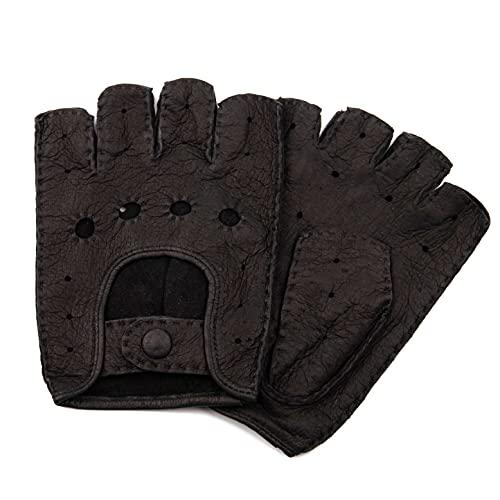 Exklusive fingerlose Auto Handschuhe aus echtem Peccary Leder, handgenäht, Herren, Germany (8, schwarz)