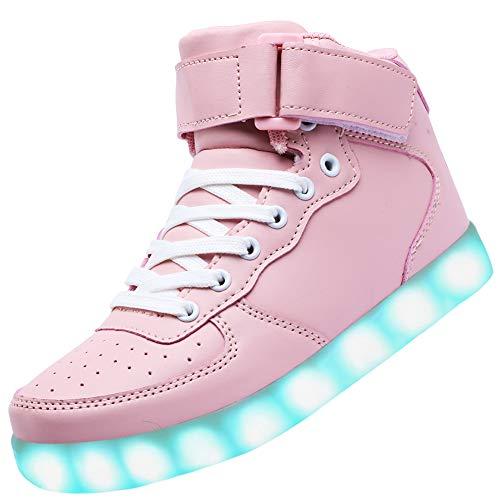 Odema Unisex LED-Schuhe High Top Light Up Sneakers für Damen Herren Mädchen Jungen Größe 4,5-13, Pink (rose), 36 EU