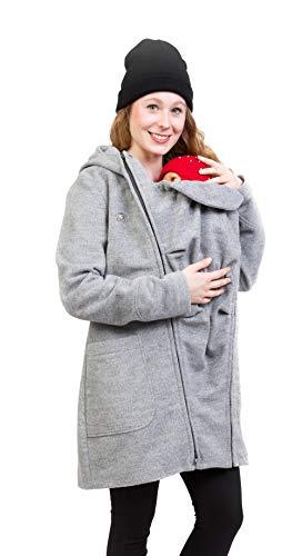 Viva la Mama - Tragejacke hinten und vorn tragen Rückentragen Jacke mit Einsatz Baby - Valentin Plus hellgrau - M