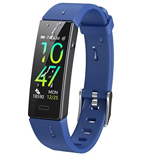 Dwfit Fitness Armband mit Pulsmesser,Wasserdicht Blutdruckmesser Fitness Tracker Aktivitätstracker Pulsuhren Schrittzähler,Uhr Smartwatch mit Schlafmonitor für iOS Android Handy (Blau1)