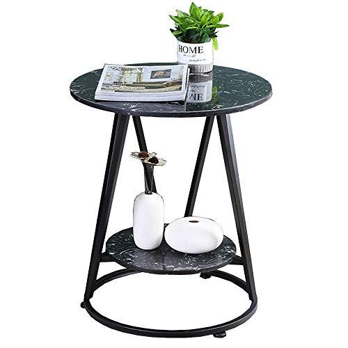Carl Artbay Home&Selected Furniture/Mini bijzettafel Nordic woonkamer-sofa-hoek tafel zwart ijzeren stijl kleine ronde tafel 2-dier opslagrek balkon salontafel, 19,6 inch, 23,2 inch (kleur: zwart)
