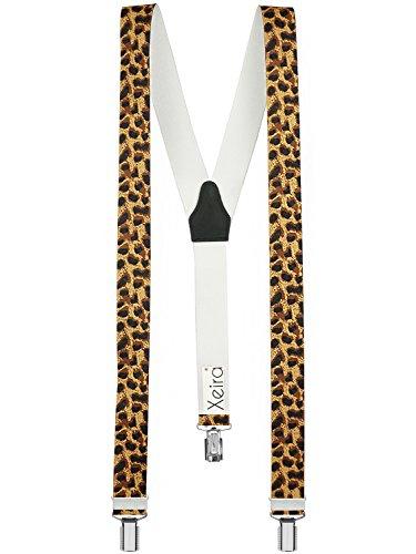 Xeira Hosenträger Leopard für Herren und Damen mit 3 stabilen Clips