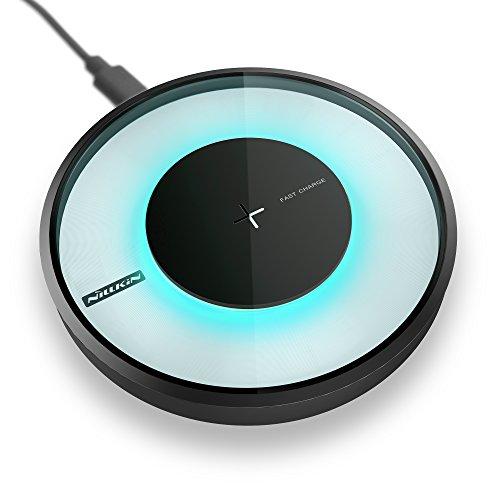 Nillkin - Magic Disk 4 - Qi - Cargador inalámbrico rápido [con luces multicolor] para iPhone 8/8Plus/X, Samsung Galaxy Note 8/S8/S8Plus/S7/S6/S6Edge/Note 5y todos los dispositivos Qi