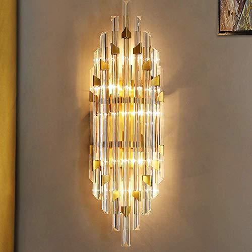 Yanqing wandlamp, metaal, Noors, modern, goudkleurig, woonkamer, achtergrond, slaapkamer, restaurant, kristal, hal, trap, balkon, wandlamp, 21,5 x 60 x 14 cm