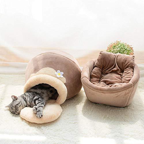 Haustierbett, Katzenbett Plüsch Haustierbett,Plüsch-Katzenbett-Hundehaus-Welpen-Kissen-tragbare warme weiche Bequeme Hundehütte -Honeypot Farbe_M-62 * 38 * 31