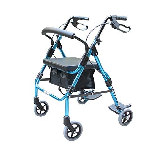 CHenXy Ältere Walker, Stehen Sessel Einkaufswagen Trolley Folding Handbremse mit Sitz Tragfähigkeit 150 kg, Blau medizinische Walker (Color : There Are Pedals)