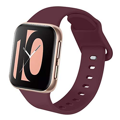 AK Kompatibel mit Apple Watch Armband 38mm 42mm 40mm 44mm, Weiche Silikon Ersatz Armband Kompatibel mit iWatch Series 6, 5, 4, 3, 2, 1, SE (Weinrot, 38mm/40mm-S/M)