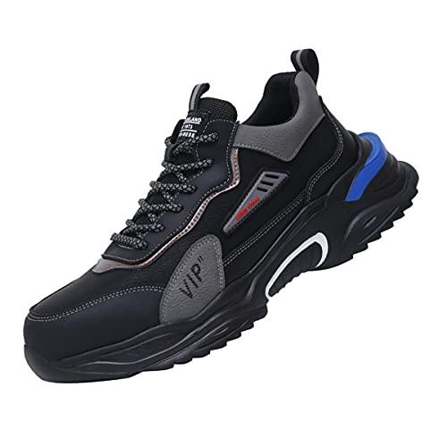 Aingrirn Zapatos de Seguridad Hombre Mujer, Punta de Acero Ultraligero Transpirables Zapatillas de Seguridad Industrial y Deportiva (Color : Black Leather, Size : 45 EU)