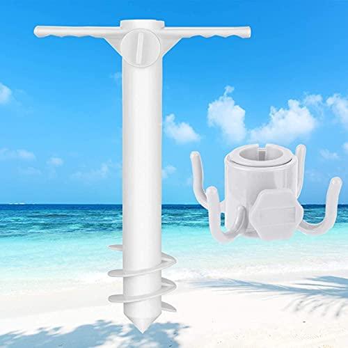 Pincho de Sombrillas,Ancla de Sombrilla para Sombrilla de Playa,Soporte con Gancho Practico para Sombrillas de Playa,Pie de Anclaje Plástico para Suelo Adecuado para sombrillas de playa estánd