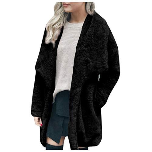 Damen Wintermantel Damen Freizeitjacke Winter Warm Outwear Plüsch Lady Pocket Long Outercoat Coat Basic Stylisch Warm Dick Herbst Wintermantel(Schwarz,S)