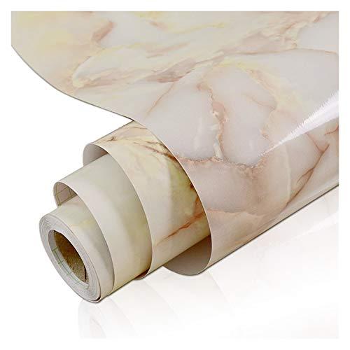 WHYBH HYCSP Marmor Vinylfilm Tapete Self Adhesive wasserdichte Wand Aufkleber for Badezimmer Küchenmöbel Renovierung Raum-Dekor-Papier (Color : Light Yellow, Size : 40cm x 5m)